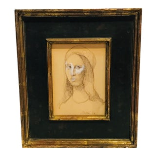 Charcoal Portrait By: E. Nachbar For Sale