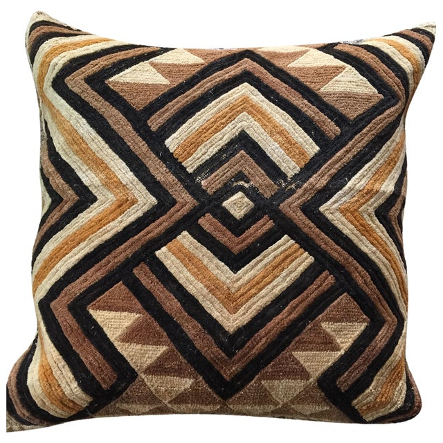 """Well-Traveled"" Kuba Cloth Pillow with Velvet Back For Sale"