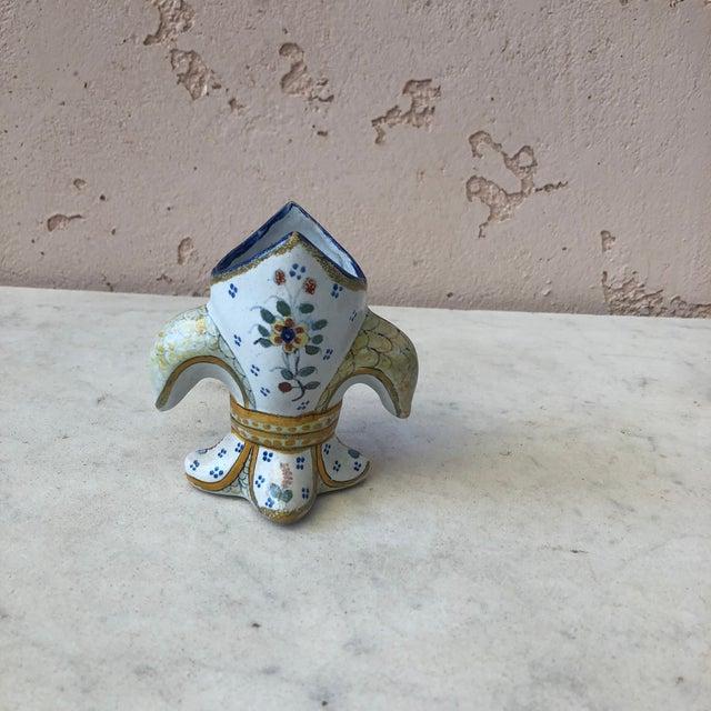 Small Fleur De Lis Faience Vase, Circa 1900 For Sale - Image 4 of 6