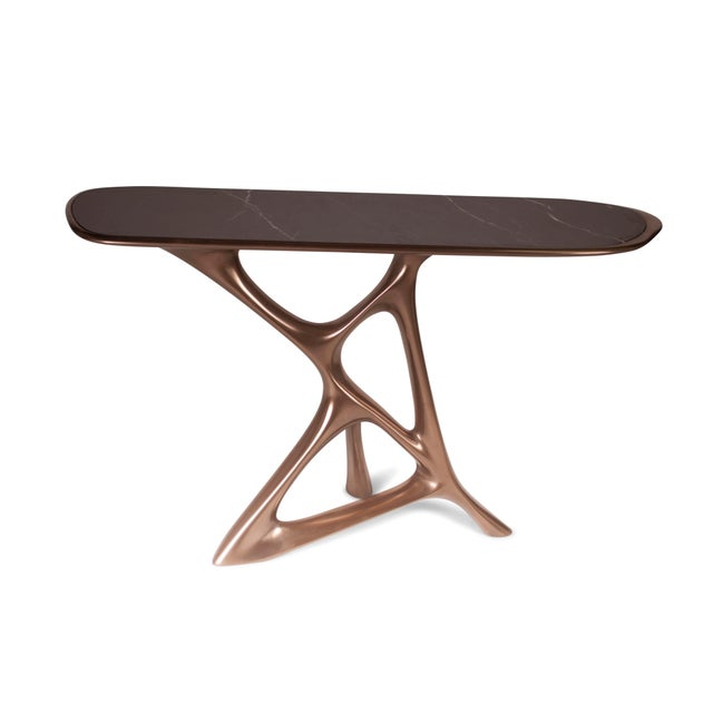 Not Yet Made - Made To Order Amorph Anika Console, Bronze Finish With Black Marble For Sale - Image 5 of 9