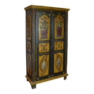 18th Century French Painted Armoire, Cupboard For Sale