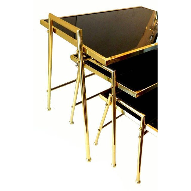 Maison Jansen Vintage Brass & Black Glass Nesting Tables - Set of 3 For Sale - Image 4 of 5