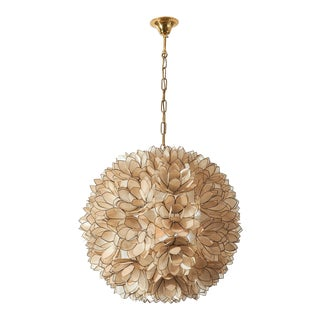 Shell and Brass Flower Hanging Light For Sale