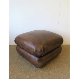 Postmodern Brown Leather Ottoman by George Smith, Ca. 1990s Preview