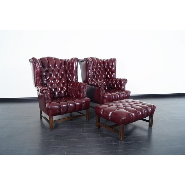 Vintage Leather Tufted Wingback Chairs For Sale In Los Angeles - Image 6 of 9