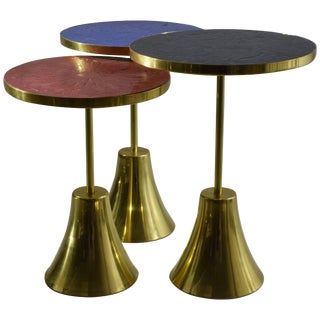 Set of Three Contemporary Brass Mosaic Side Tables, Flow Collection For Sale