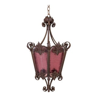 Belle Epoque Wrought Iron Lantern With Purple Glass For Sale