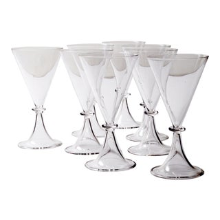 Set of Eight Modernist Champagne Goblets For Sale