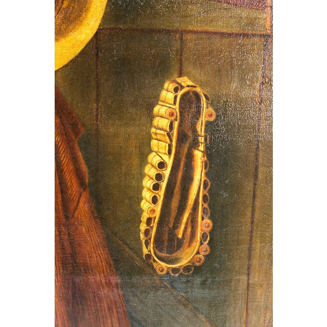Canvas Early 20th Century Trompe l'Oeil Oil Painting With Wood Frame For Sale - Image 7 of 11