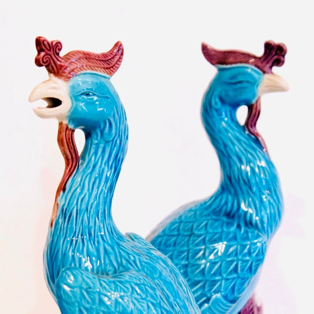 Turquoise and Manganese Glazed Chinese Porcelain Ho-Ho Birds- a Pair For Sale - Image 6 of 13