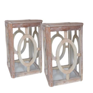 Distressed White Washed Wood & Glass Hurricane Lanterns - A Pair