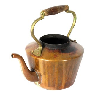 Early 20th Century Copper Tea Kettle With Brass and Wood For Sale
