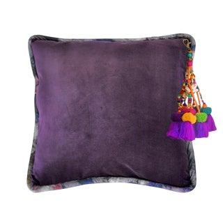 Dark Purple / Bryony Storm Dorian Velvet Throw Pillow For Sale