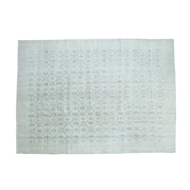"Mid-Century Distressed Oushak Rug - 7'10"" X 10'8"" For Sale"