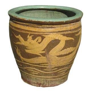 1990s Asian Glazed Earthenware Dragon Planter
