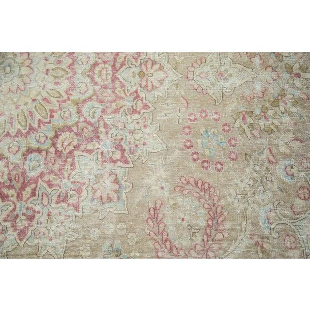 "Vintage Distressed Meshed Carpet - 9'3"" x 12'5"" For Sale - Image 5 of 10"