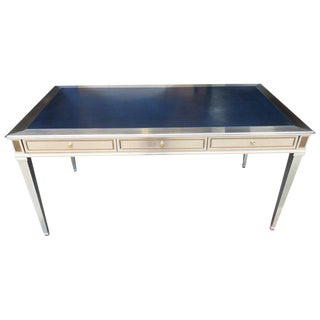 Steel, Bronze and Leather Neoclassic Desk, Attributed to John Vesey For Sale