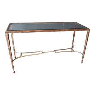 1990s Classic Iron and Beveled Glass Console Table For Sale