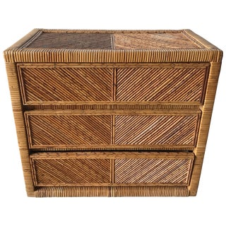 Rattan Wicker Bamboo Reed Dresser or Chest of Drawers For Sale