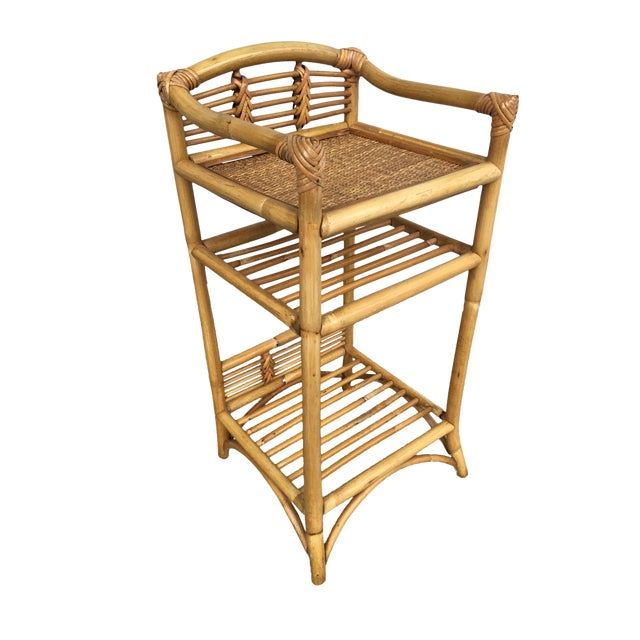 Restored Mid-Century Rattan Three-Tier Book/Magazine Shelf For Sale