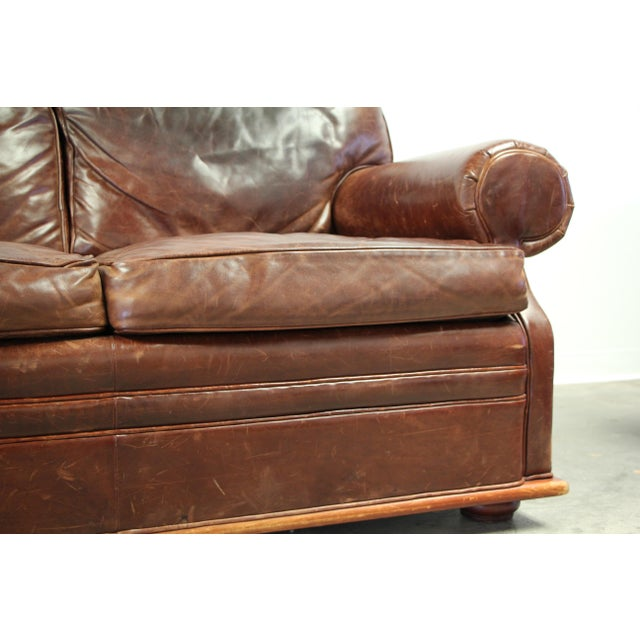 A superb vintage Ralph Lauren leather sofa in thick, buttery, luxurious cinnamon leather. The leather is aged to...