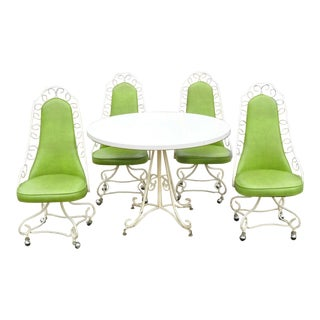 Vintage Green Vinyl Wrought Iron Table-Set of 5 For Sale