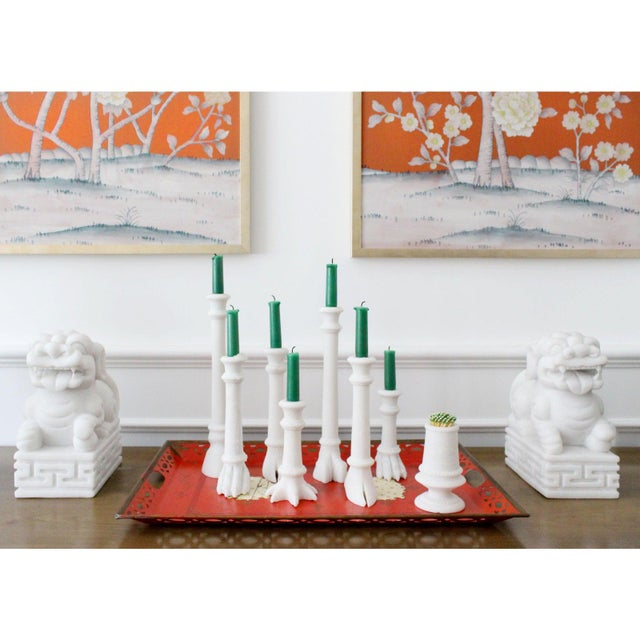 Stone Crocodile Solid White Marble Candlestick Holder, Matching Pair For Sale - Image 7 of 8