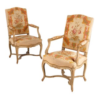 1920s Louis XV Style Painted Armchairs - a Pair For Sale
