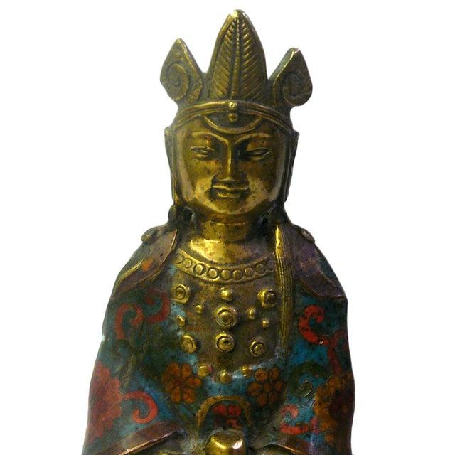 Metal & Blue Enamel Cloisonne Buddha Statue For Sale - Image 7 of 8