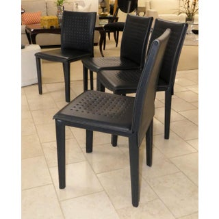 Arper Modern Italian Leather Dining Chairs- Set of 4 Preview