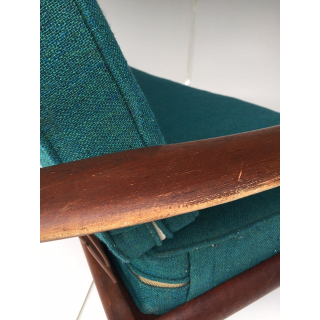 Fabric Mid-Century Modern Danish Teak Sofa Turquoise Cushions For Sale - Image 7 of 10