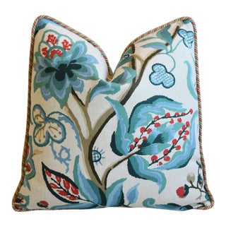 """Custom Schumacher Alexandra Teal Floral Feather/Down Pillow 20"""" Square For Sale"""