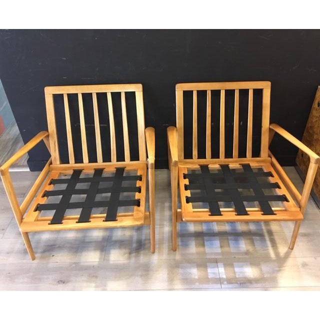 Wood Pair Mid Century Chairs For Sale - Image 7 of 8