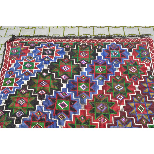 Handwoven Turkish Kilim Rug. Traditional Oushak Area Rug Braided Kilim - 6′ X 13′5″ For Sale In Raleigh - Image 6 of 12