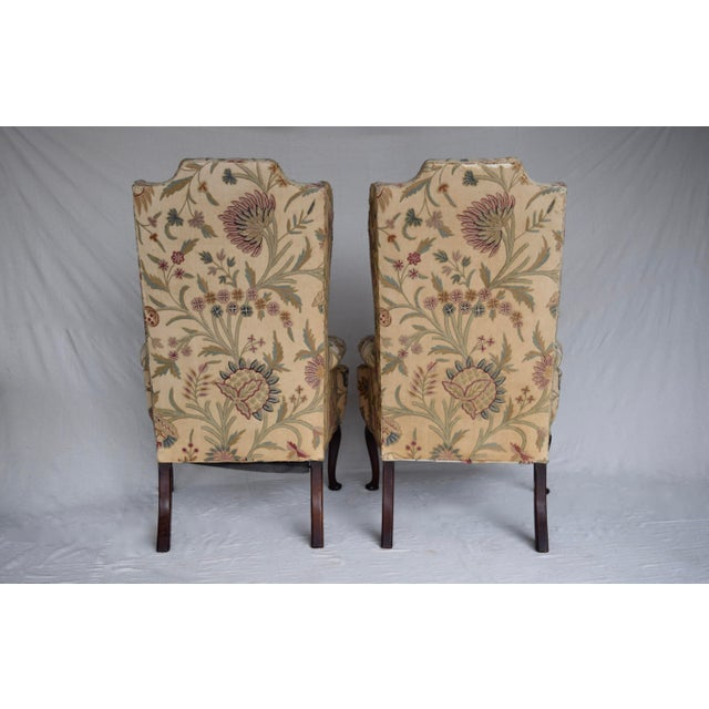 English Queen Anne Style High Back Library Wingchair, Circa 1910 For Sale - Image 10 of 13