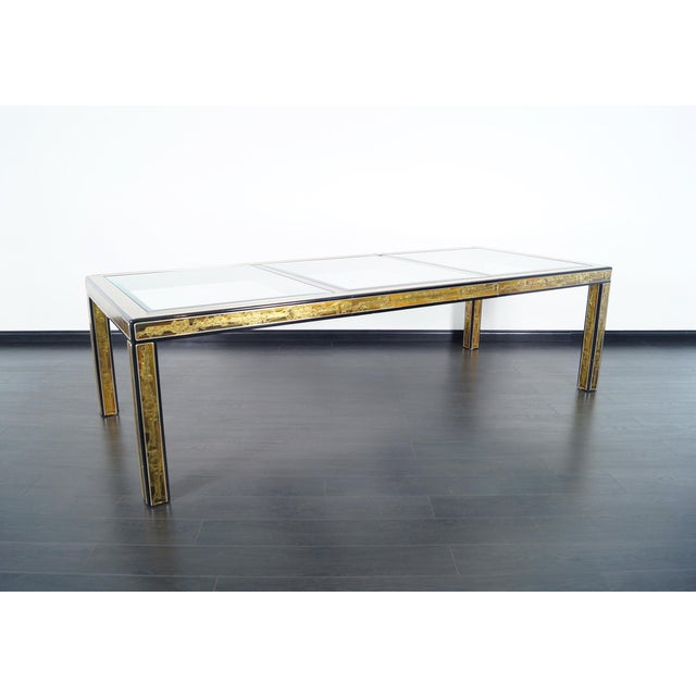 Danish Modern Vintage Etched Brass Dining Table by Mastercraft For Sale - Image 3 of 9