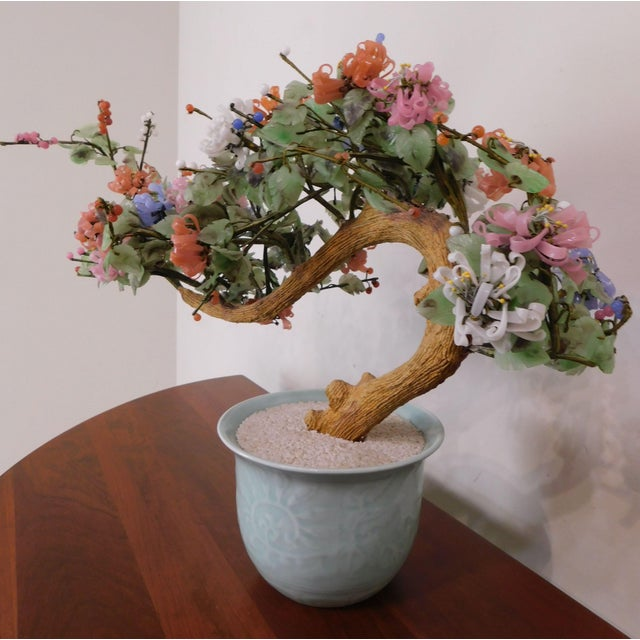 Chinese Glass and Wood Faux Bonsai Tree in White Celadon Pot For Sale In Philadelphia - Image 6 of 13