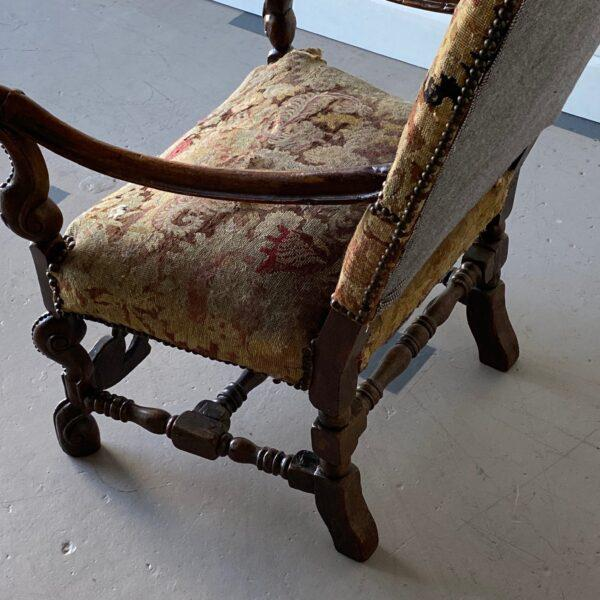 19th Century William IV Walnut Carved Armchair For Sale - Image 5 of 8