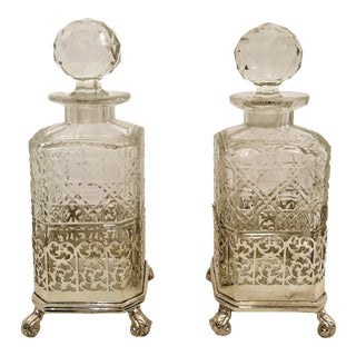 Pair Antique English Cut Crystal and Sheffield Silver Mounted Decanters. For Sale