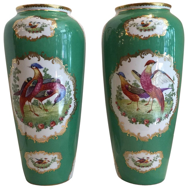 19th Century Victorian Porcelain Chelsea Bird Pattern Vases - a Pair For Sale
