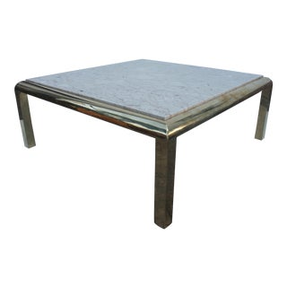 Mastercraft Brass & Marble Top Coffee Table For Sale