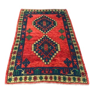 1960s Vintage Turkish Oushak Rug - 4′1″ × 6′5″ For Sale