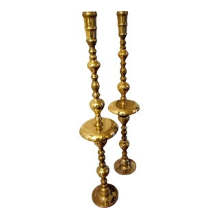 Vintage 1970s Tall Brass Candelabras - a Pair For Sale