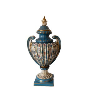1950s Mid Century French Paris Porcelain Covered Vase Celeste Blue Empire Sevres Style For Sale