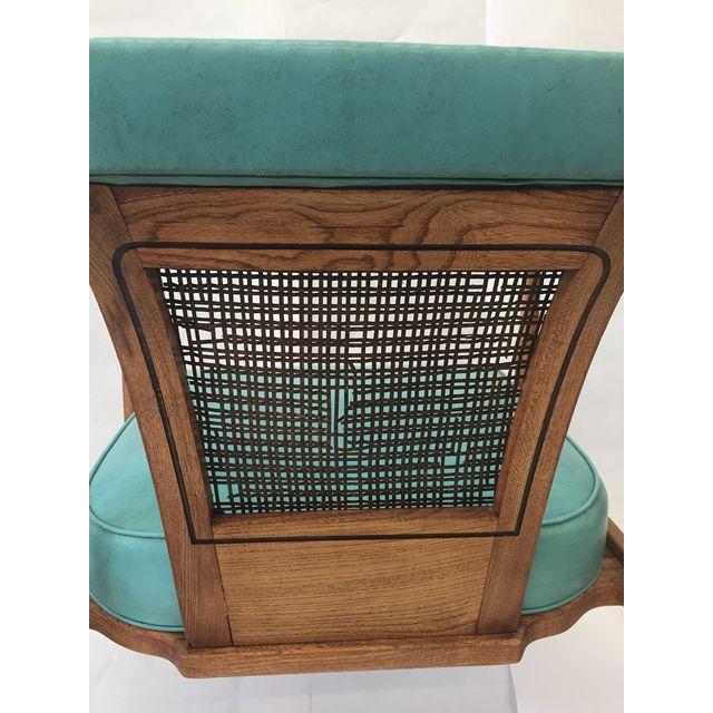 Vintage Mid-Century Teal & Oak Chair - Image 4 of 4