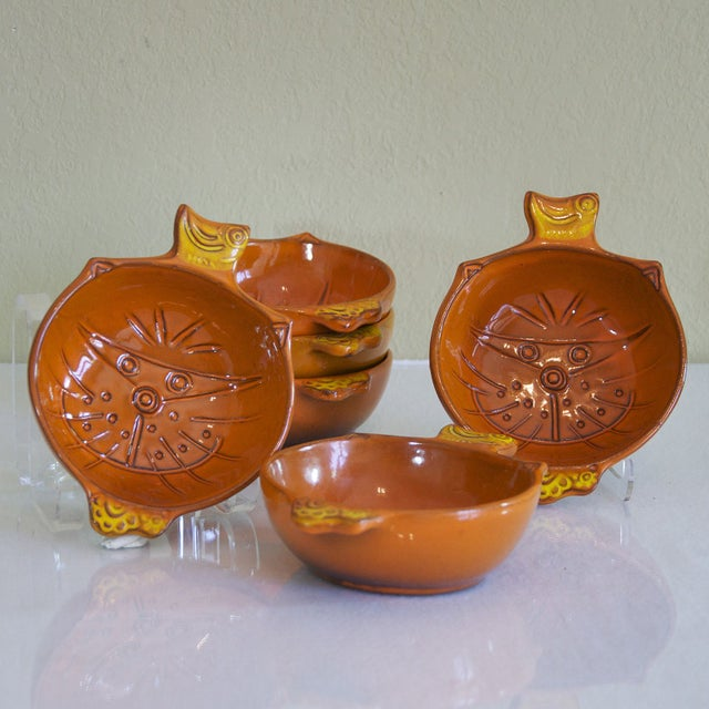 Vintage Orange Kitty Face Pottery Bowls - Set of 6 - Image 3 of 5