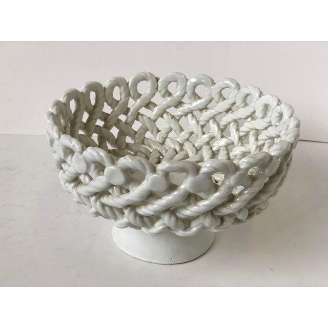 Italian Woven Rope White Ceramic Compote For Sale - Image 11 of 12