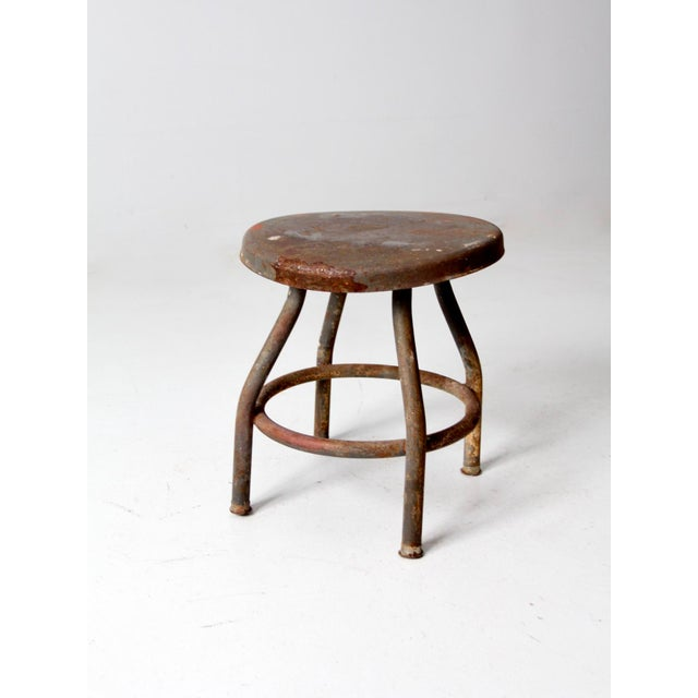 Mid 20th Century Vintage Industrial Metal Stool For Sale - Image 5 of 12