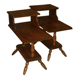 Triple Tier Maple Western Ranch Style End Tables - A Pair