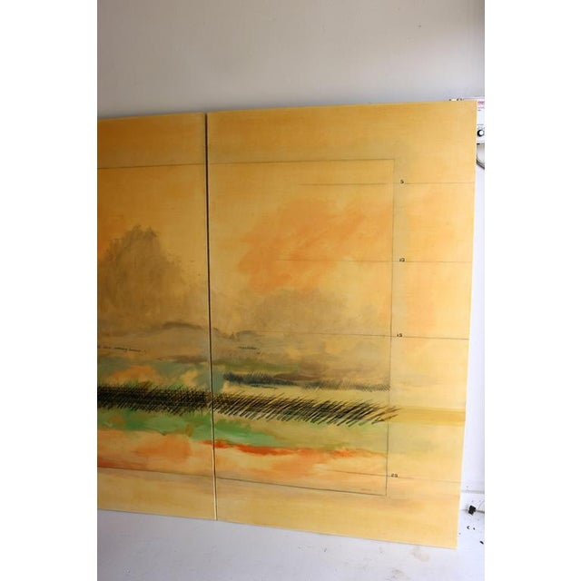 1980s Large Scale Oil on Canvas Impressionist Landscape Triptic by Robert Savoie For Sale - Image 5 of 11